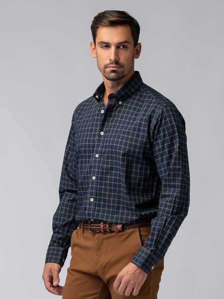 Picture of Men's cotton check shirt button down collar