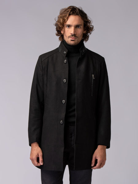 Picture of Men's woolen mix single-breasted coat with upright collar.