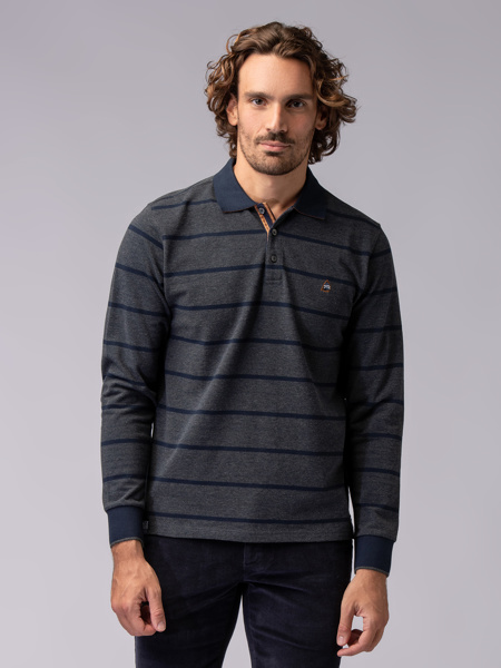 Picture of GRAY STRIPED POLO BLOUSE