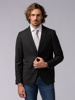 Picture of Men's black singe breasted two button blazer jacket, with soft pique weave