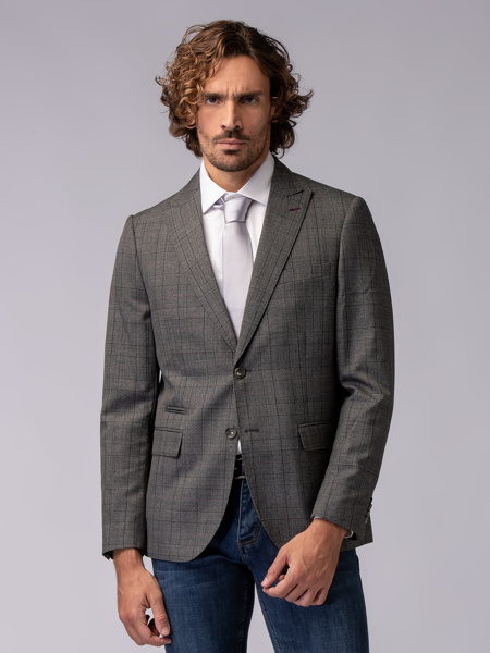 Picture of Men's woll mix blazer jacket with picked lapel and soft checked weave-Assorted pants