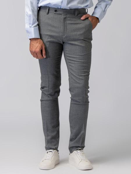 Picture of Men's chinos fit pants with small 'pie de poule' jacquard