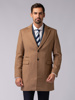 Picture of Men's three-ply single-breasted woolen mix camel coat