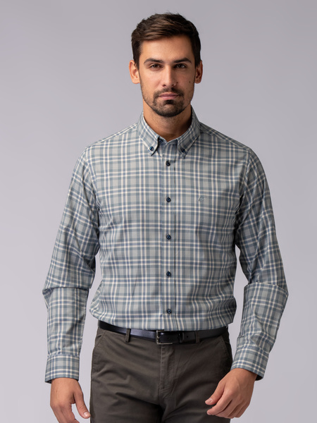 Picture of Men's iron free plaid check shirt