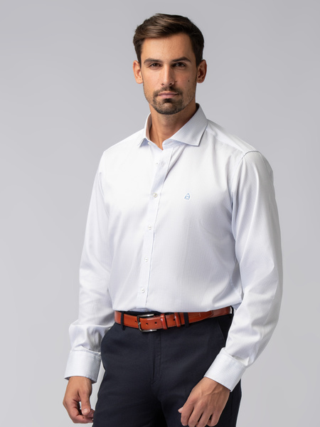 Picture of Men's white small check shirt