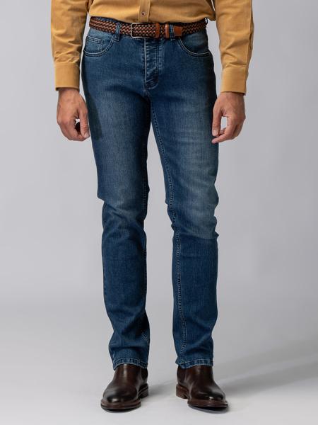 Picture of Men's stretch five-pocket blue jeans pants