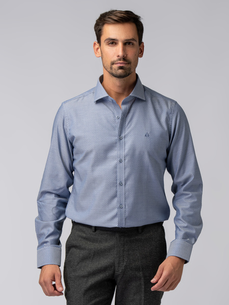 Picture of Men's shirt with small geometric jacquard