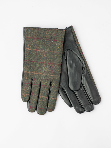 Picture of Men's woolen plaid gloves with leather bottom